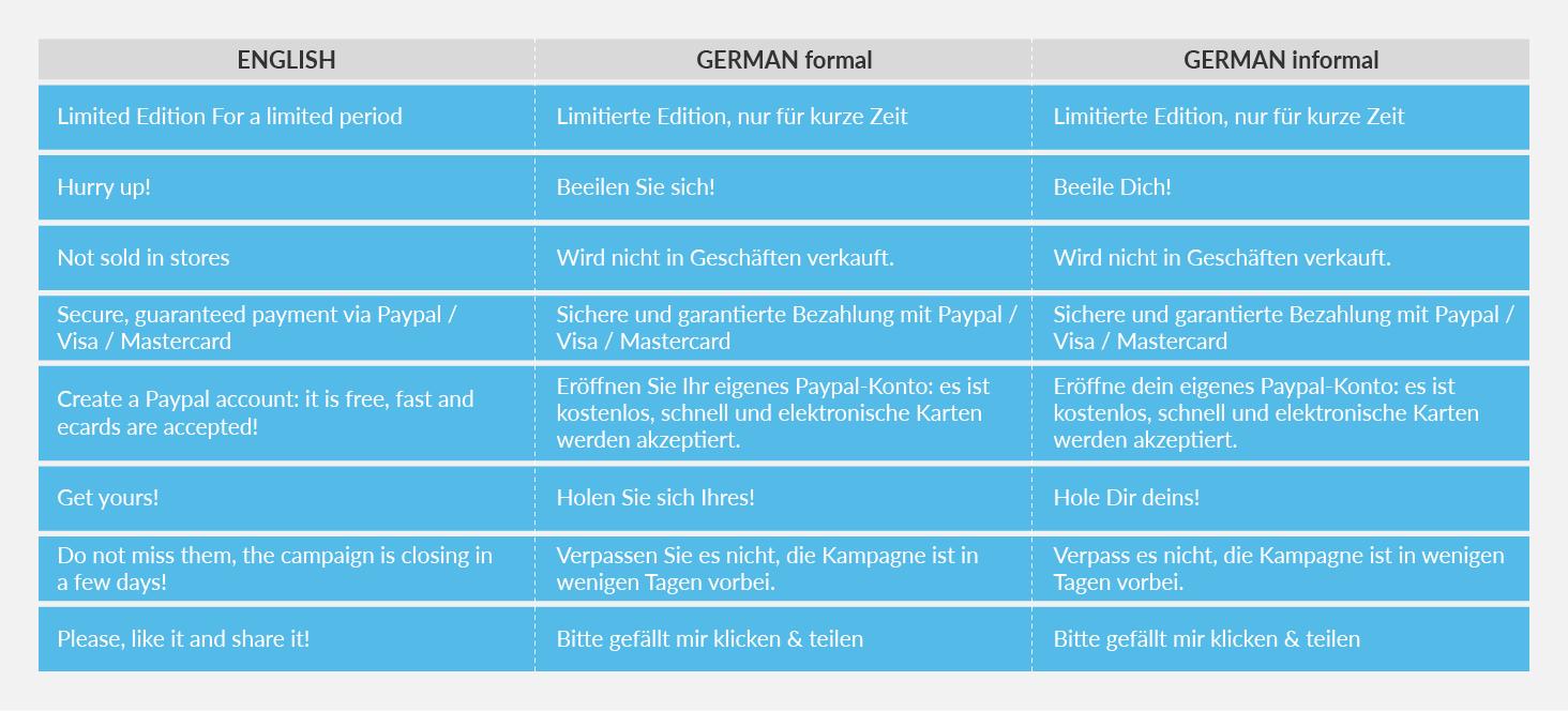 German table